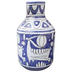 Midcentury Italian Blue Ceramic Vase by Fratelli Fanciullacci, circa 1960s