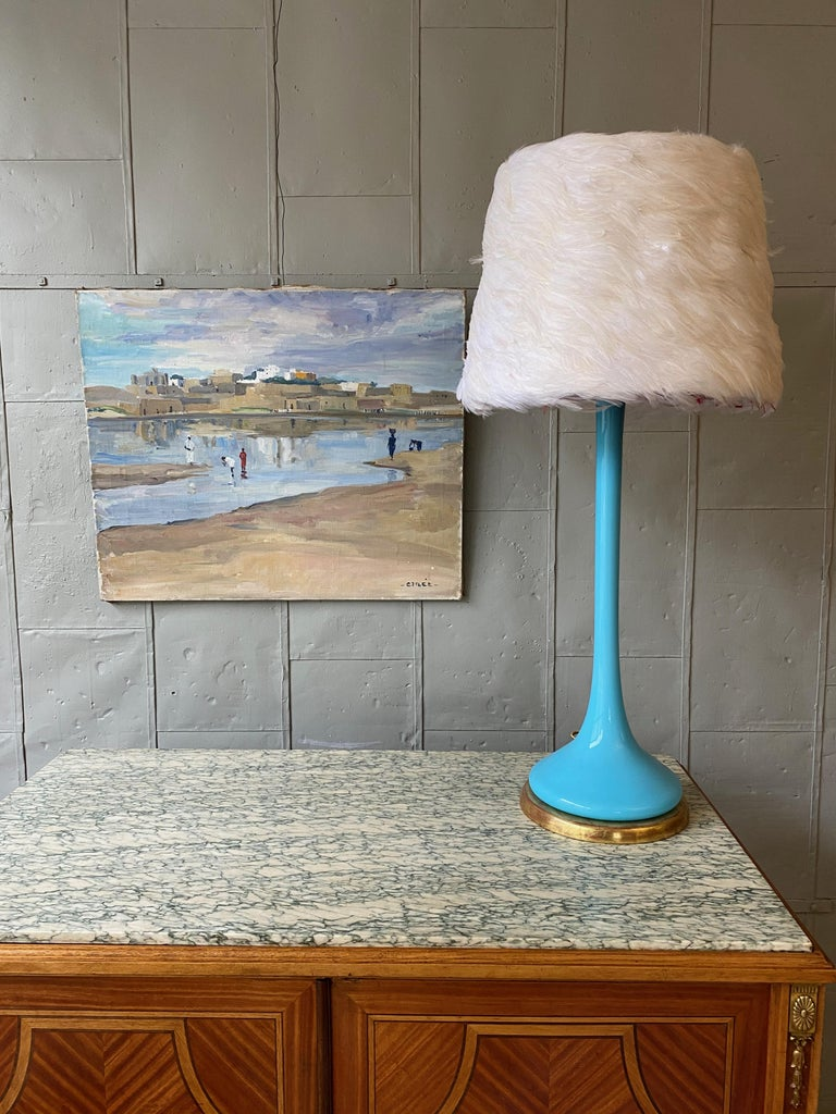 Midcentury Italian Blue Glass Lamp on Giltwood Base For Sale 5
