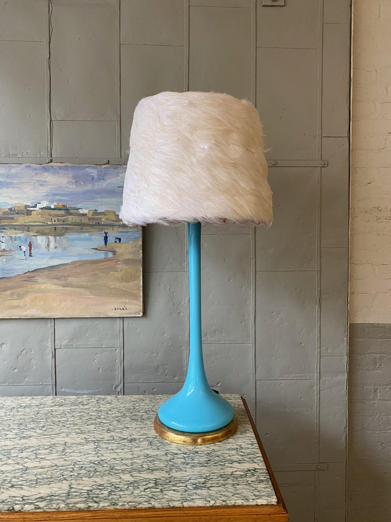 Midcentury Italian Blue Glass Lamp on Giltwood Base In Good Condition For Sale In Buchanan, NY