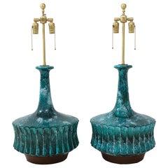 Midcentury Italian Blue, Green Glazed Ceramic Lamps