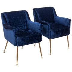 Midcentury Italian Blue Velvet Armchairs, Set of Two