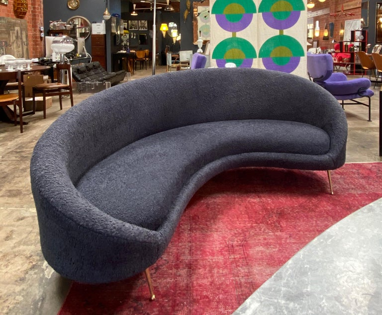 Mid-Century Modern Midcentury Italian Blue Wool Sheep Curved Sofa by Federico Munari For Sale