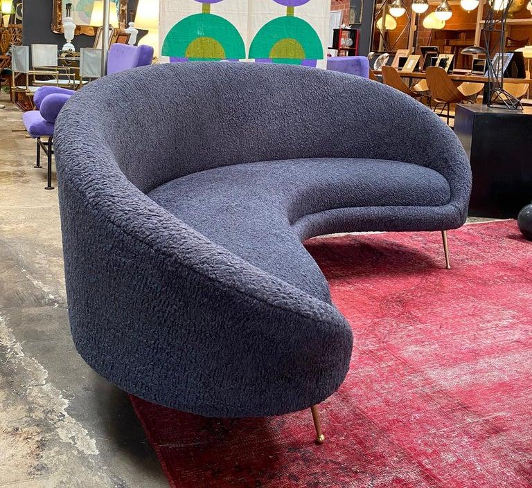 Mid-20th Century Midcentury Italian Blue Wool Sheep Curved Sofa by Federico Munari For Sale