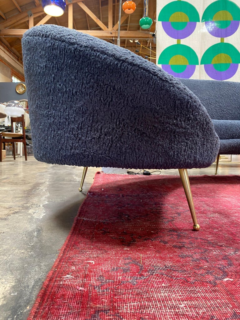 Brass Midcentury Italian Blue Wool Sheep Curved Sofa by Federico Munari For Sale