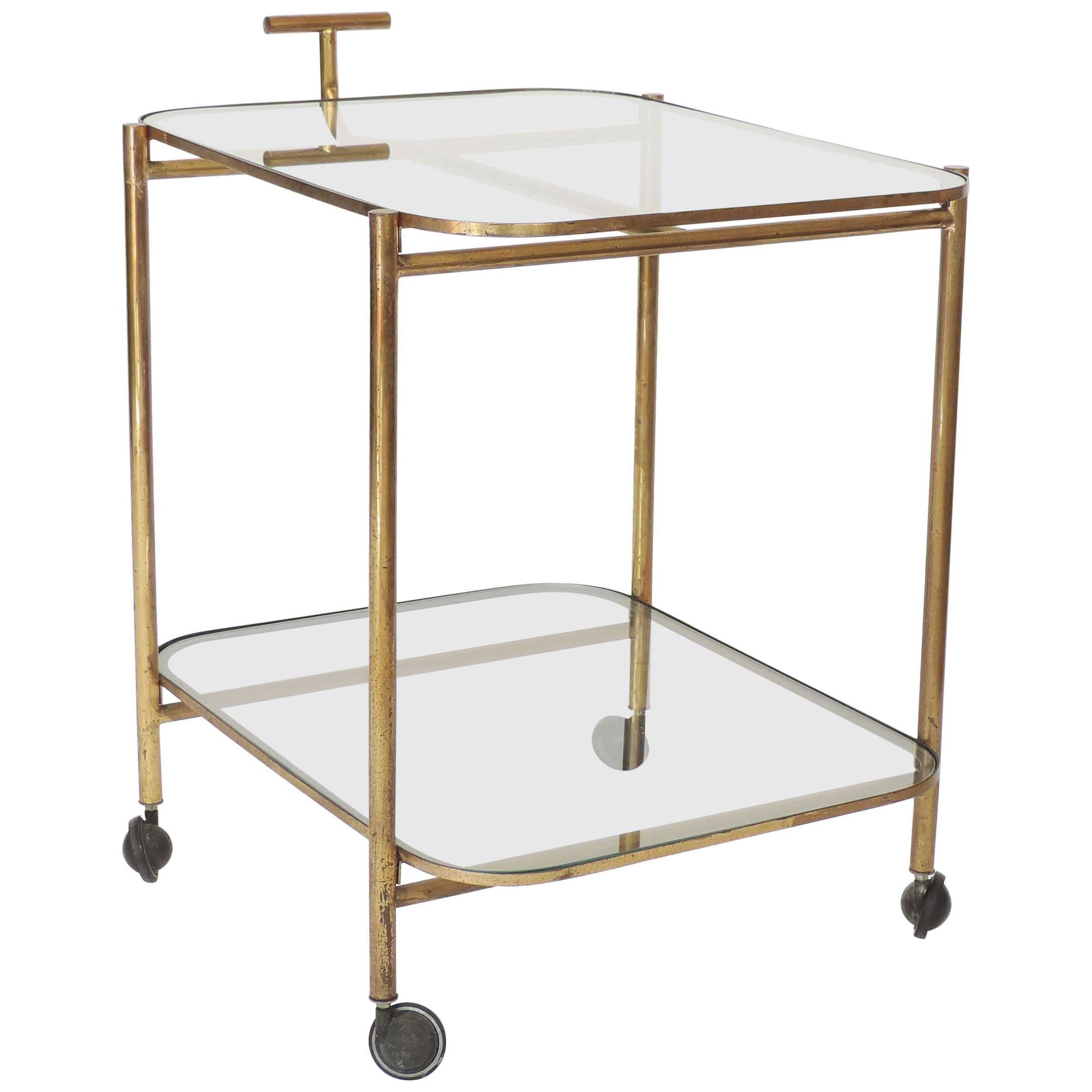 Midcentury Italian Brass and Glass Bar Cart