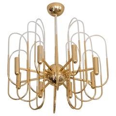 Midcentury Italian Brass and Glass Chandelier by Sciolari, circa 1960