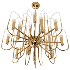 Midcentury Italian Brass and Glass Chandelier by Sciolari