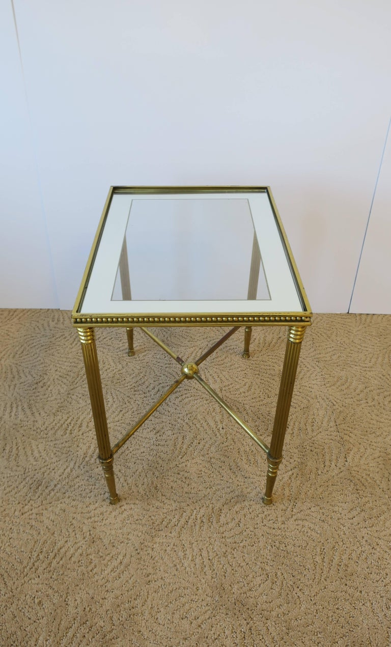 Midcentury Italian Brass and Glass End or Side Table For Sale 2