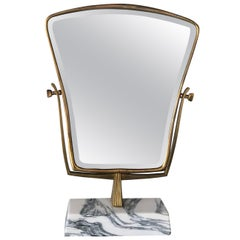 Midcentury Italian Brass and Marble Table Mirror