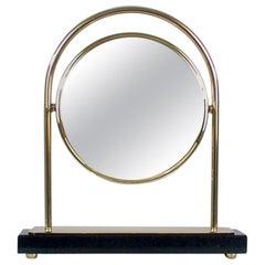 Midcentury Italian Brass and Marble Tilting Table Mirror, 1950s