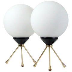 Midcentury Italian Brass and Opal Sputnik Table Lamps, Set of 2, 1950s