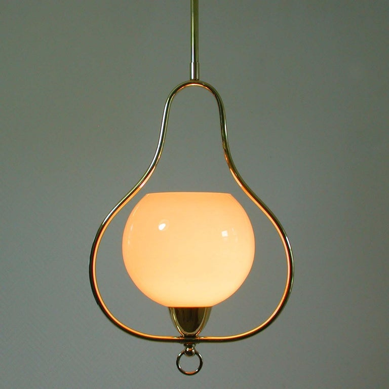 Midcentury Italian Brass and Opaline Pendant, 1940s-1950s For Sale 6