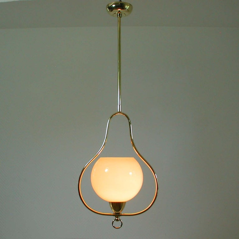 Midcentury Italian Brass and Opaline Pendant, 1940s-1950s For Sale 7