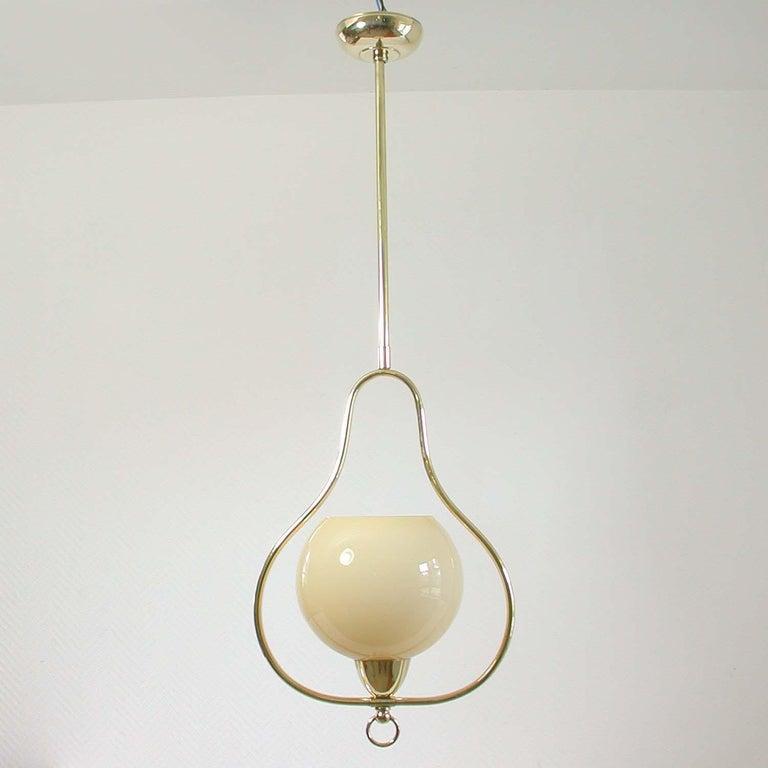 Mid-Century Modern Midcentury Italian Brass and Opaline Pendant, 1940s-1950s For Sale
