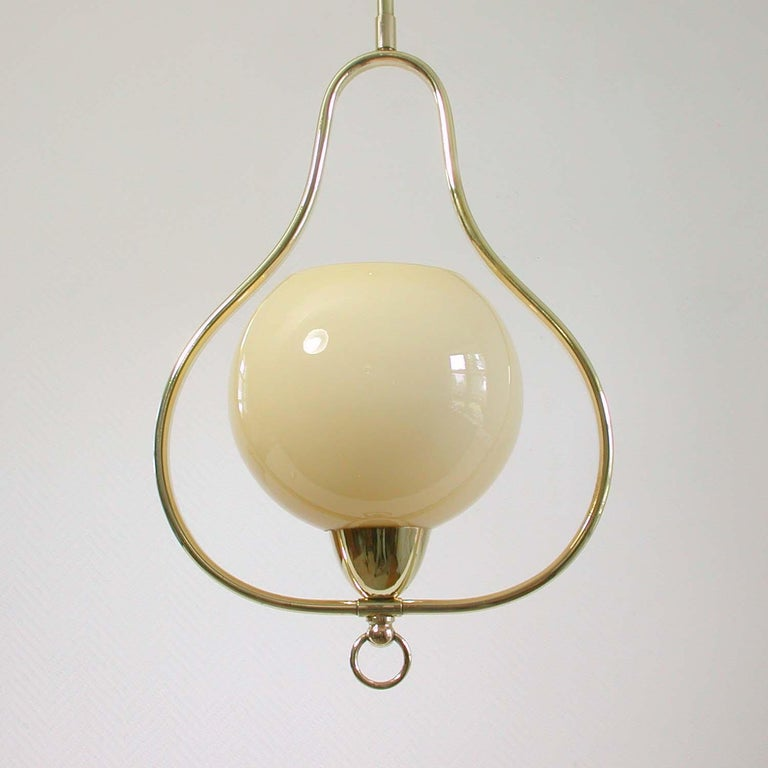 Midcentury Italian Brass and Opaline Pendant, 1940s-1950s In Good Condition For Sale In Nümbrecht, NRW