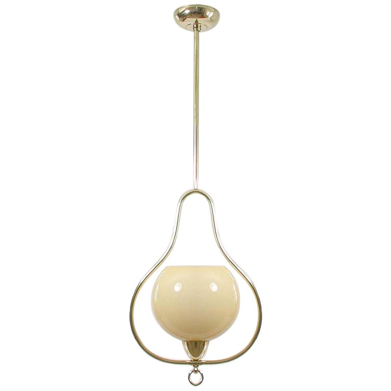 Midcentury Italian Brass and Opaline Pendant, 1940s-1950s For Sale