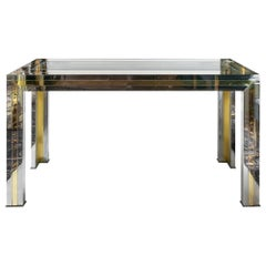 Midcentury Italian Brass, Chrome and Glass Top Console Table by Willy Rizzo