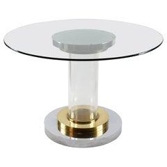 Midcentury Italian Brass, Chrome and Lucite Table Base Signed Romeo Rega