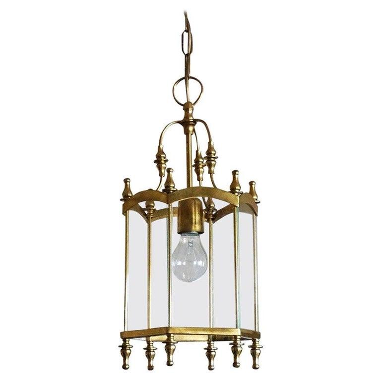 Midcentury Italian Brass Clear Glass Lantern, Pendant For Sale