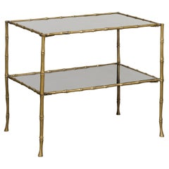 Midcentury Italian Brass Faux Bamboo Drinks Table with Mirrored Top and Shelf
