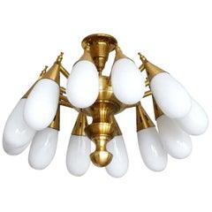 Stilnovo Style Brass Handblown Opaline Glass Twelve-Light Chandelier, 1960s