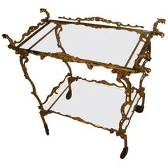 Midcentury Italian Brass Hollywood Regency Figural Bar Cart