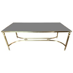 Midcentury Italian Brass Low Table with Black Glass