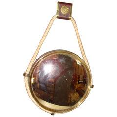 Midcentury Italian Brass Round Convex Mirror