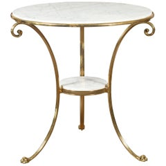 Midcentury Italian Brass Table with Round White Marble Top and Scrolling Legs