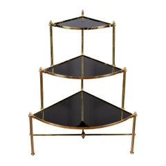 Midcentury Italian Brass Tiered Corner Étagère with Black Glass Shelves