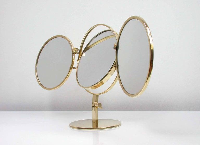 Midcentury Italian Brass Triple Folding Vanity Table Mirror, 1950s For Sale 5