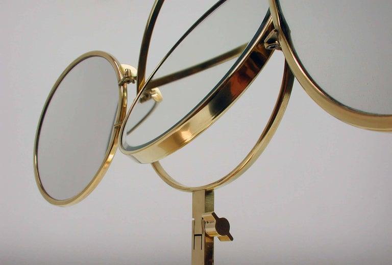 Mid-Century Modern Midcentury Italian Brass Triple Folding Vanity Table Mirror, 1950s For Sale