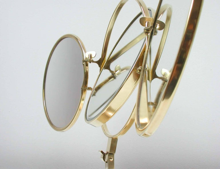 Mid-20th Century Midcentury Italian Brass Triple Folding Vanity Table Mirror, 1950s For Sale