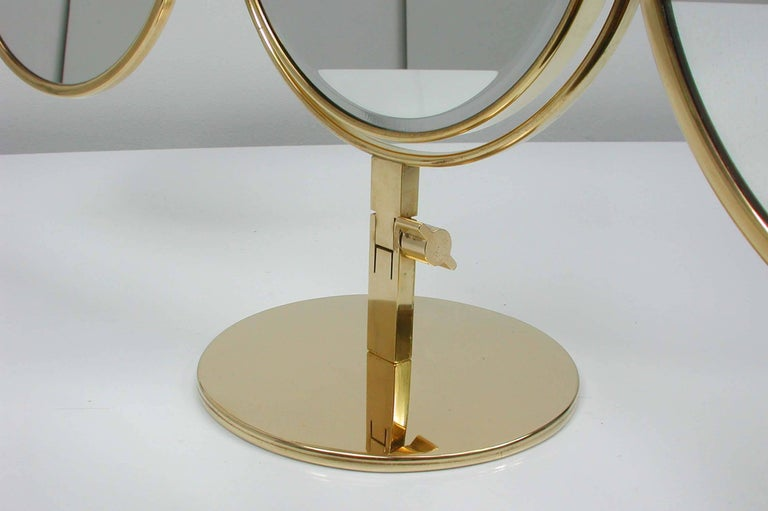 Midcentury Italian Brass Triple Folding Vanity Table Mirror, 1950s For Sale 1