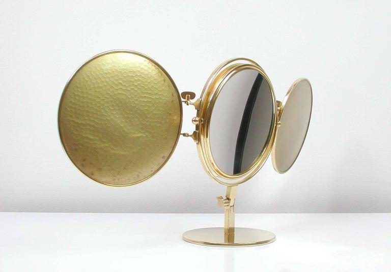 Midcentury Italian Brass Triple Folding Vanity Table Mirror, 1950s For Sale 2
