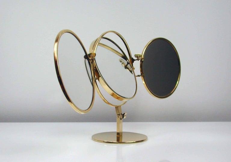 Midcentury Italian Brass Triple Folding Vanity Table Mirror, 1950s For Sale 3