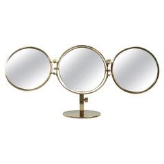 Midcentury Italian Brass Triple Folding Vanity Table Mirror, 1950s