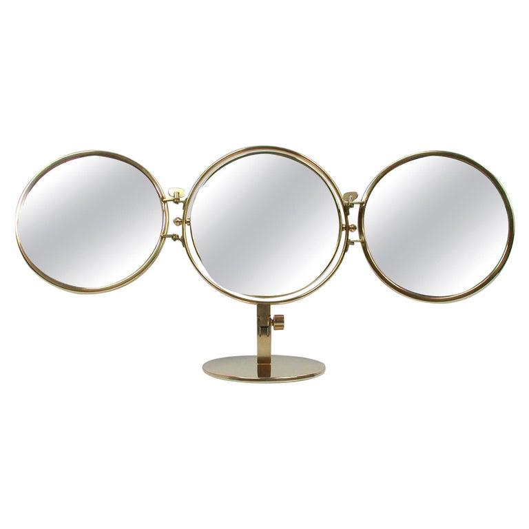 Midcentury Italian Brass Triple Folding Vanity Table Mirror, 1950s For Sale