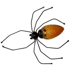 Midcentury Italian Brutalist Spider Amber Glass Body Sconce