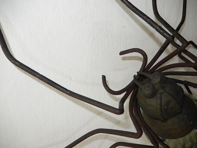 Mid-20th Century Midcentury Italian Brutalist Spider Light Green Glass Body Sconce