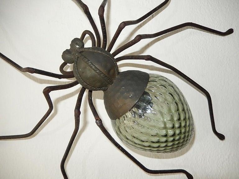 Midcentury Italian Brutalist Spider Light Green Glass Body Sconce 1