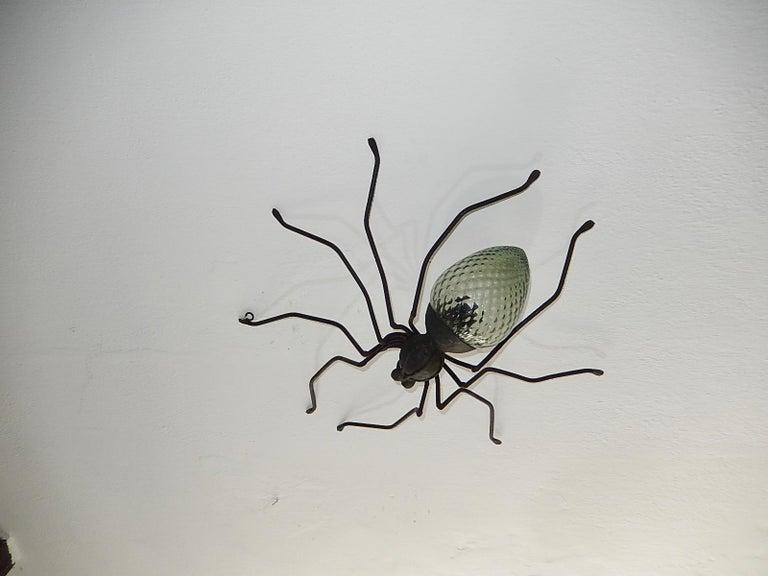 Midcentury Italian Brutalist Spider Light Green Glass Body Sconce 2