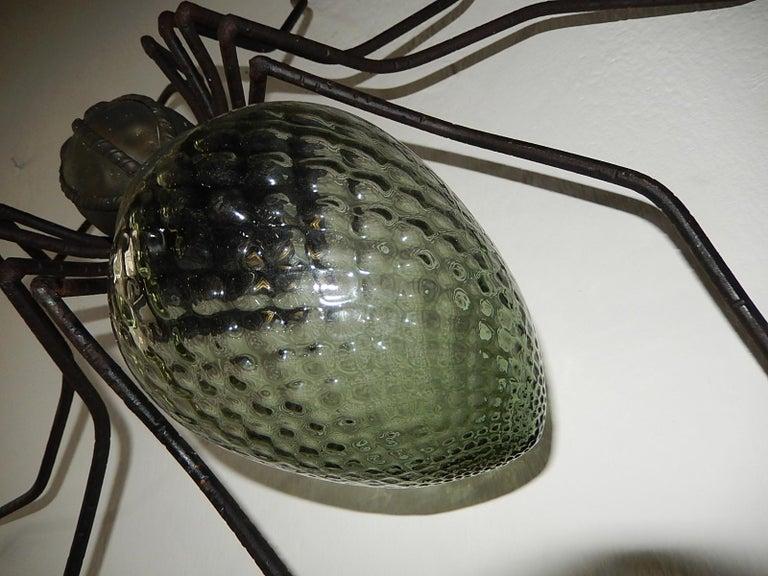 Midcentury Italian Brutalist Spider Light Green Glass Body Sconce 3