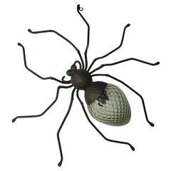 Midcentury Italian Brutalist Spider Light Green Glass Body Sconce
