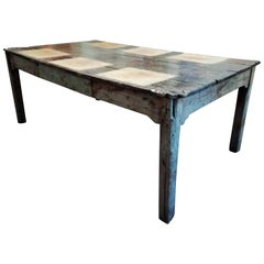 Midcentury Italian Brutalist Spruce Table with Decorated Top from 1960s