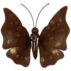 Alessandro Mazzucotelli Italian Brutalist Wrought Iron Rare Butterfly Sconce