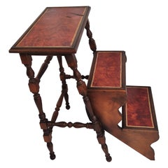 Midcentury Italian Carved Walnut Wood and Leather Foldable 3-Step Library Ladder