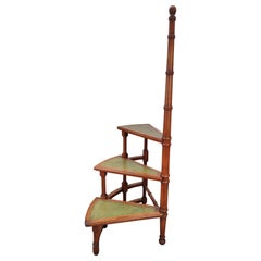 Midcentury Italian Carved Walnut Wood and Leather Spiral 3-Step Library Ladder