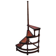 Midcentury Italian Carved Walnut Wood and Leather Spiral 4-Step Library Ladder