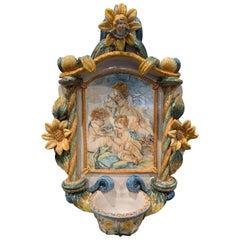 Midcentury Italian Ceramic Barbotine Wall Stoup Signed S. Lorenzello